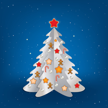 Christmas blue greeting with white tree and decorations