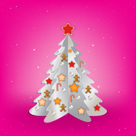 Christmas pink greeting with white tree and decorations Imagens - 127632483
