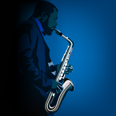 abstract music illustration with saxophone player on blue background