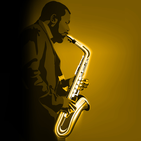 abstract music illustration with saxophone player on golden background