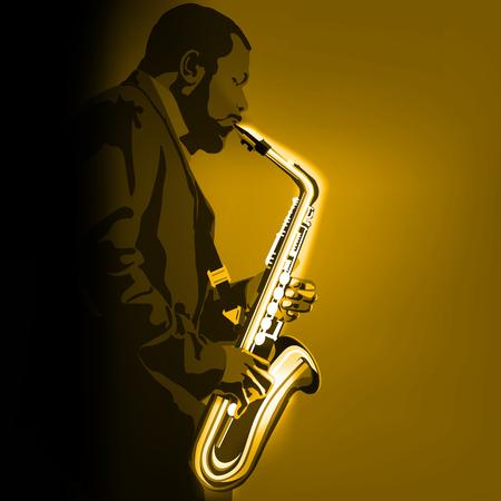 illustration de musique abstraite avec joueur de saxophone sur fond doré