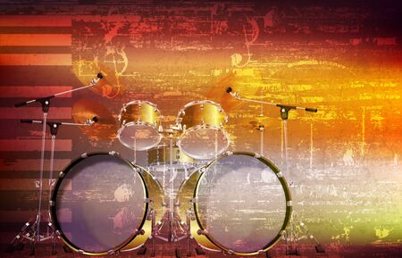 abstract brown grunge music background with drum kit