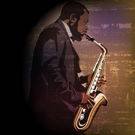 Musique abstraite avec joueur de saxophone sur brown grunge Vecteurs