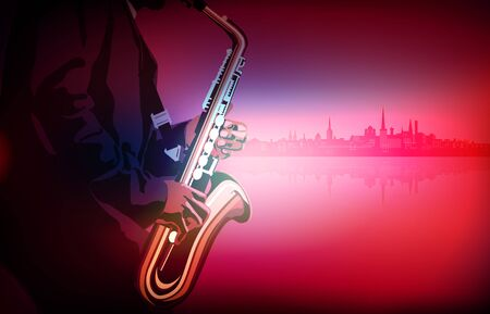 Abstract pink   with saxophone player on cityscape Stock Illustratie
