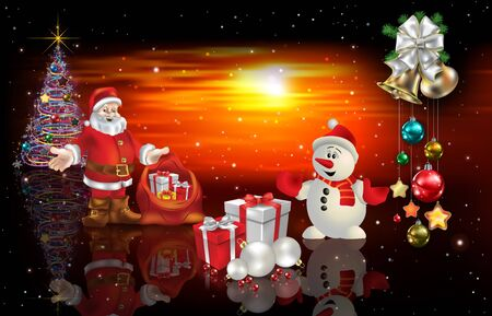 Abstract red sunset background with Santa Claus Christmas gifts and snowman