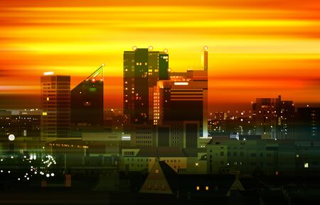 abstract motion blur golden background with panorama of Tallinn  イラスト・ベクター素材