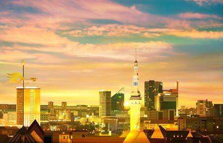 abstract green sunset background with panorama of Tallinn