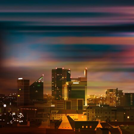 abstract night background with panorama of Tallinn