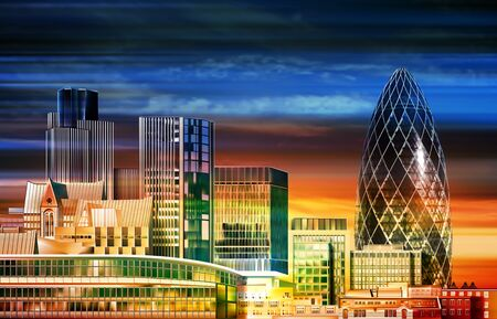 abstract bright color background with dark clouds and panorama of London  イラスト・ベクター素材