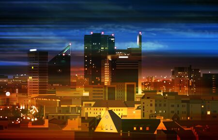 abstract bright color background with dark clouds and panorama of City  イラスト・ベクター素材