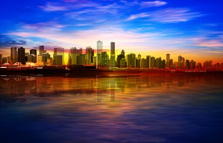 abstract spring background with gold sunrise blue sky and panorama of Vancouver Illustration