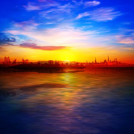 abstract spring background with gold sunrise blue sky and silhouette of city Illustration