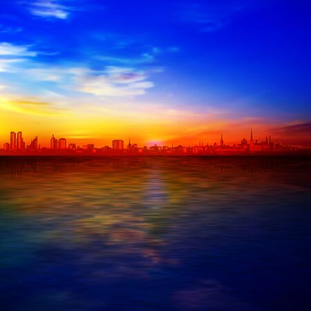 abstract gold sunrise background with blue sky and silhouette of city Illustration