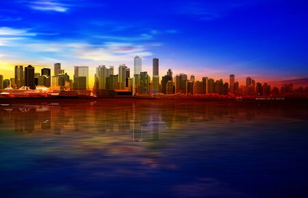 abstract gold sunrise background with blue sky and panorama of Vancouver Illustration