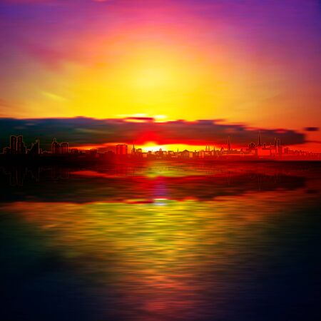 abstract red sunset background with dark clouds and silhouette of city Illustration