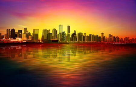 abstract red sunset background with violett sky and panorama of Vancouver Illustration