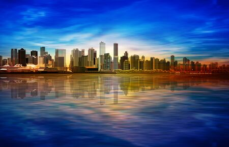 abstract spring sunrise background with blue sky and panorama of Vancouver