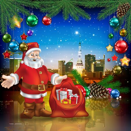 celebration illustration with cityscape of Tallinn Santa Claus and Christmas decorations