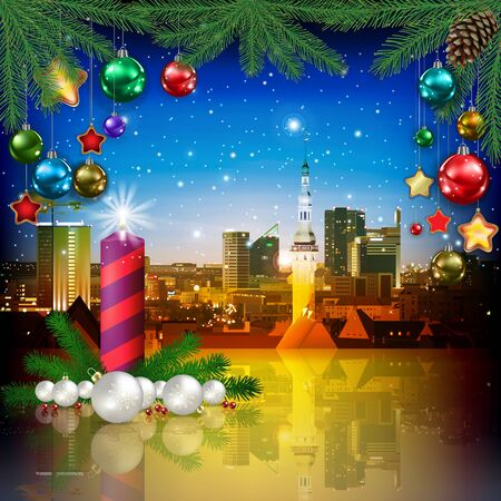 celebration illustration with cityscape of Tallinn and Christmas candle