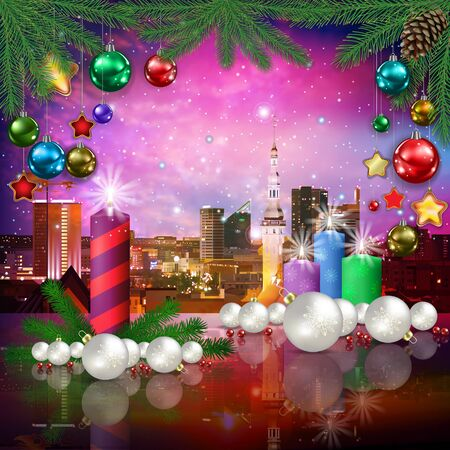 celebration illustration with cityscape of Tallinn and Christmas candles on pink