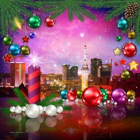 celebration illustration with cityscape of Tallinn and Christmas decorations on pink