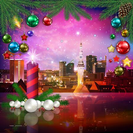 celebration illustration with cityscape of Tallinn and Christmas candle on pink