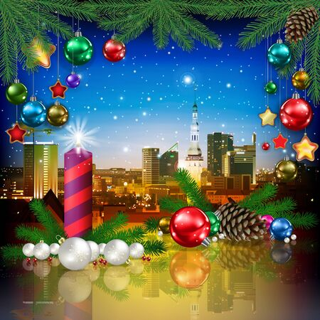 celebration illustration with pine cone cityscape of Tallinn and Christmas decorations Çizim