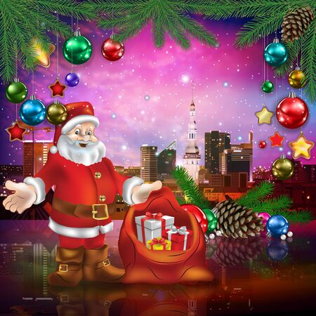 celebration illustration with cityscape of Tallinn Santa Claus and Christmas decorations on pink Çizim