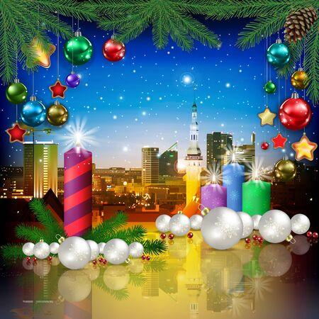 celebration illustration with cityscape of Tallinn and Christmas candles Çizim