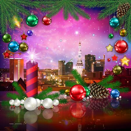 celebration illustration with pine cone cityscape of Tallinn and Christmas decorations on pink