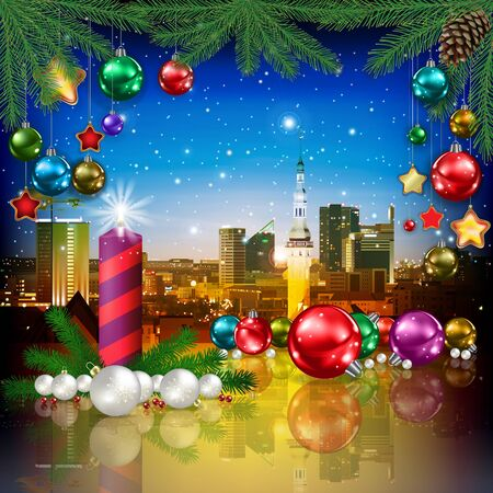 celebration illustration with cityscape of Tallinn and Christmas decorations