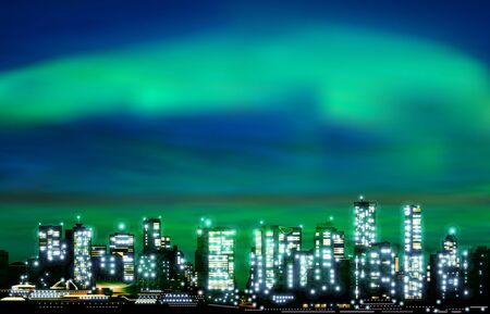 abstract green illustration with cityscape of Vancouver on sunset background