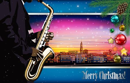 Christmas pink blue illustration with saxophone player on cityscape of Heidelberg background