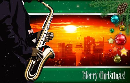 Christmas red green illustration with saxophone player on cityscape of old Tallinn background