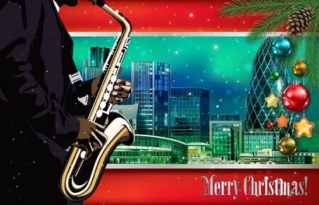Christmas green red illustration with saxophone player on cityscape of London background