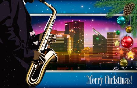 Christmas pink blue illustration with saxophone player on cityscape of Tallinn background