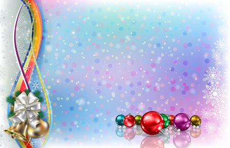 Abstract light background with Christmas decorations and snowflakes