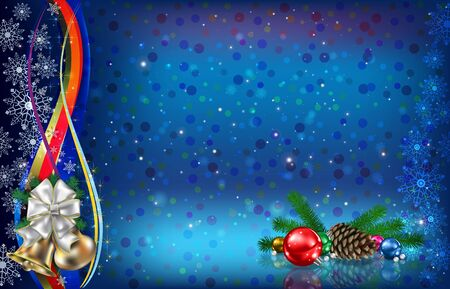 Abstract dark blue background with Christmas decorations pine cone and  snowflakes