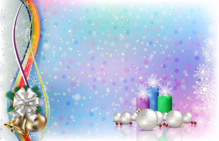 Abstract light background with Christmas candles and  snowflakes Çizim