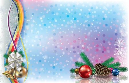 Abstract light background with Christmas decorations pine cone and  snowflakes Çizim