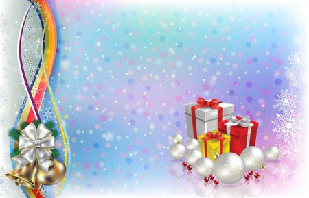 Abstract light background with Christmas gifts decorations and snowflakes