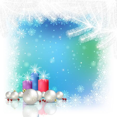 Abstract blue white background with Christmas decorations and candles