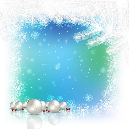 Abstract blue white background with white Christmas decorations and snowflakes