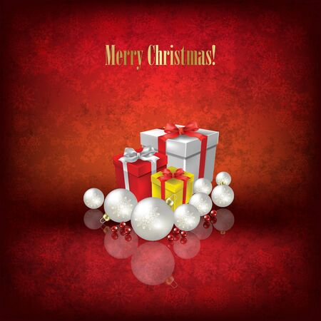 Abstract Christmas illustration with gifts and decorations on grunge red background