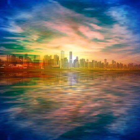 abstract spring background with gold sunset blue sky and silhouette of Vancouver