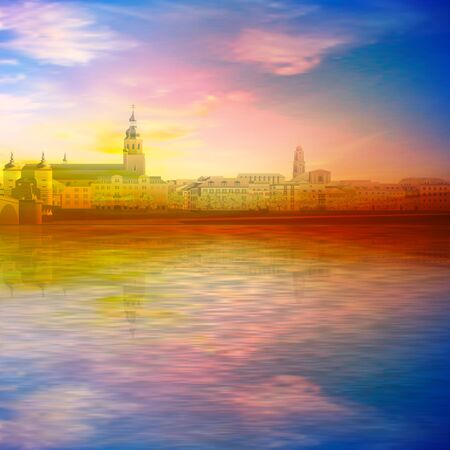 abstract spring background with gold sunset pink sky and silhouette of Heidelberg