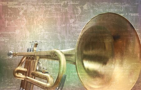 abstract gray grunge vintage sound background trumpet Stock Illustratie