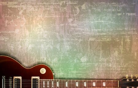 abstract gray grunge vintage sound background classic electric guitar Stock Illustratie