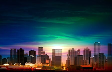 abstract spring background with sunrise green clouds and panorama of Vancouver