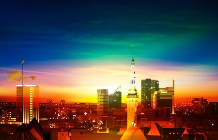 abstract spring background with green blue sunset and panorama of Tallinn